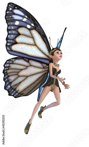 La pose en embrasure Fées, elfes elf butterfly flying on