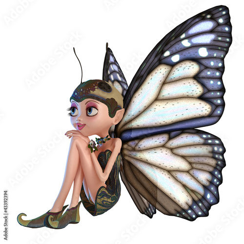 La pose en embrasure Fées, elfes elf butterfly thinking about
