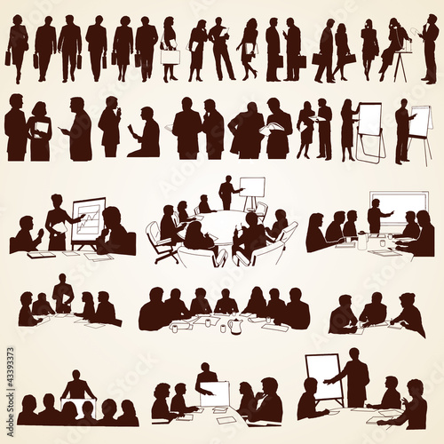 Láminas  Business People Silhouettes Vector, pack of various situations