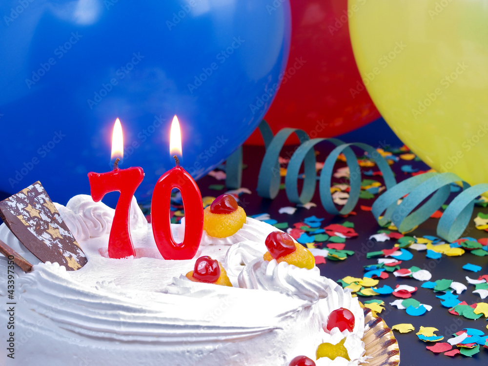 Birthday Cake With Red Candles Showing Nr 70 Foto Poster Wandbilder Bei EuroPosters