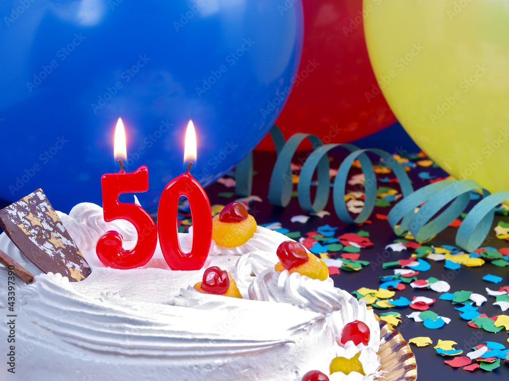 Birthday Cake With Red Candles Showing Nr 50 Foto Poster Wandbilder Bei EuroPosters