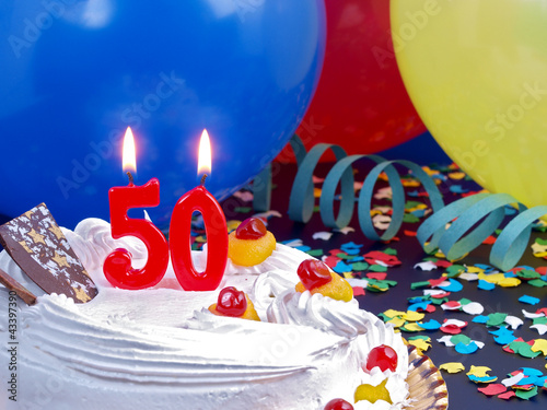 Birthday Cake With Red Candles Showing Nr 50