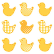 Baby Ducks In Pastel Yellow Gingham And Polka Dots