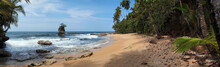 Panorama On A Beautiful Sandy Beach With Rocky Islet And Tropical Vegetation, Caribbean Sea, Costa Rica, Central America