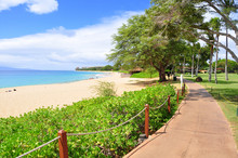 Kaanapali Beach Boardwalk On The West Maui Coast Line.