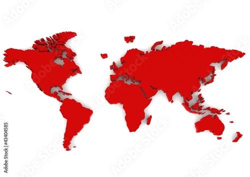 Poster Carte du monde Red world map