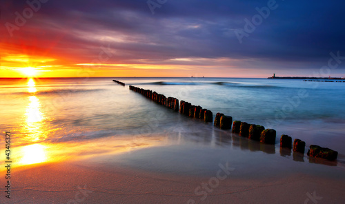 Baltic sea at beautiful sunrise in Poland beach. - 43416321