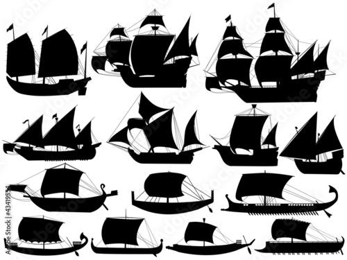 Fotografija  set of silhouettes of ancient sail boats
