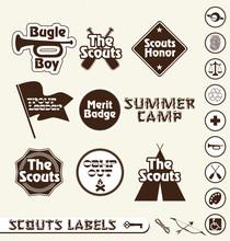 Vector Set: Boy Scout Merit Ba...