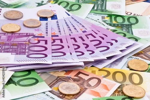 Fotografia  Viele Euro Geldscheine