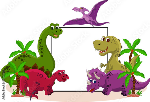 Tuinposter Dinosaurs funny dinosaur with blank sign