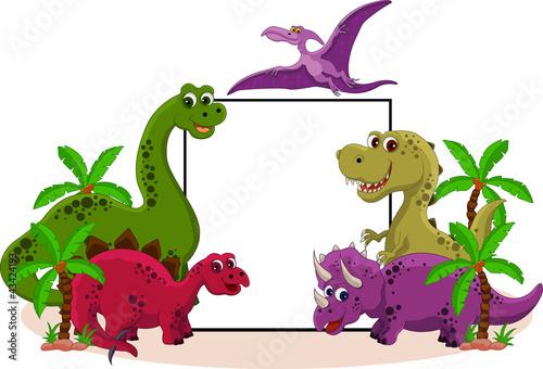 Keuken foto achterwand Dinosaurs funny dinosaur with blank sign