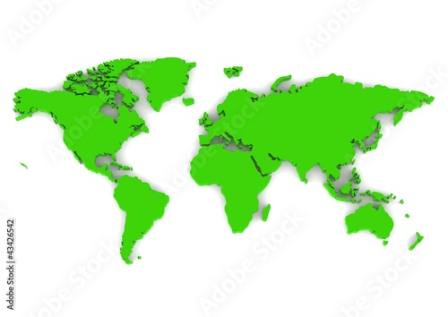 Türaufkleber Weltkarte World map green