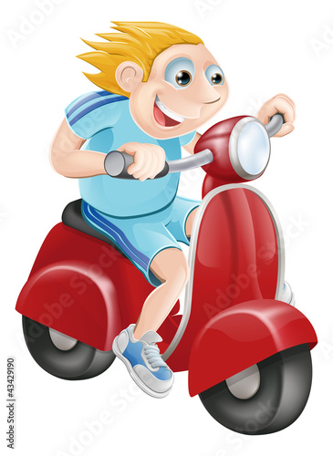 Printed kitchen splashbacks Motorcycle Happy man on his moped
