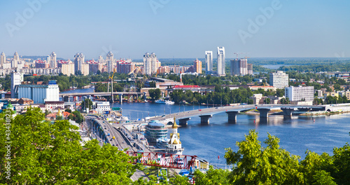 In de dag Kiev Kiev cityscape and Dnieper river