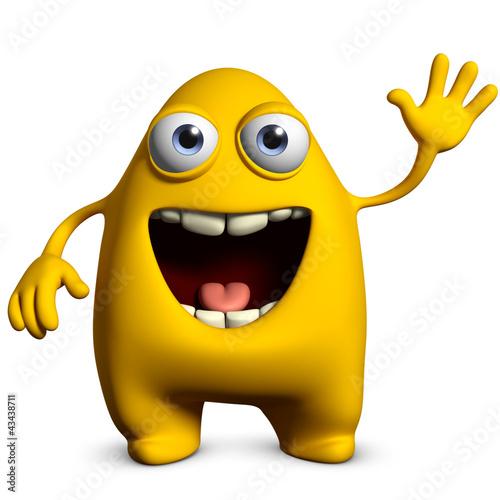 Poster de jardin Doux monstres yellow alien