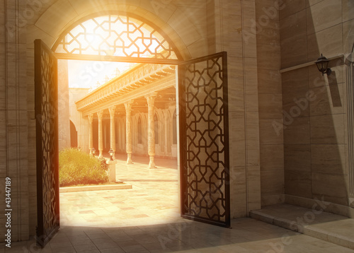 mystic view of gate with sunlight
