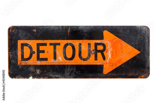Fotografie, Obraz  Detour sign - old orange and black  road sign