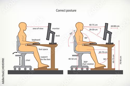 Fotografía  prawidlowa postawa przy komputerze
