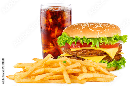 Fotografia, Obraz  Cheeseburger with cola soda drink