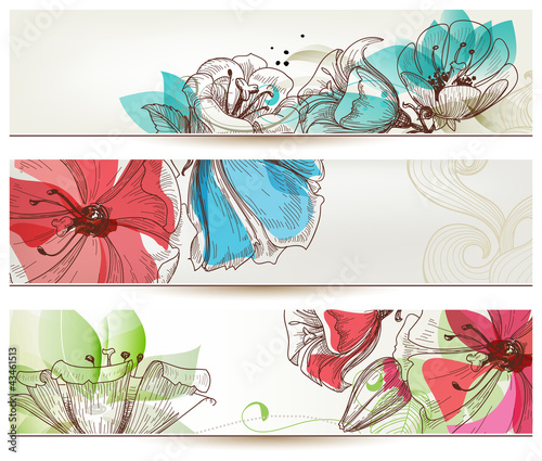 Deurstickers Abstract bloemen Floral banners vector
