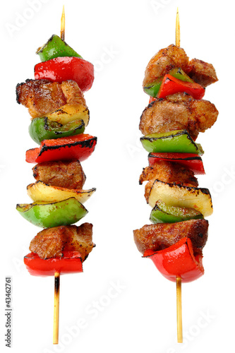 Fotografía  Fried skewers isolated on a white background