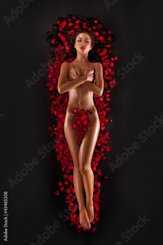 Plakat na zamówienie Beautiful woman against petals of red roses on black