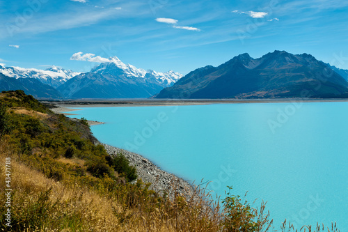 Montage in der Fensternische Neuseeland Lake Pukaki and Mount Cook, New Zealand