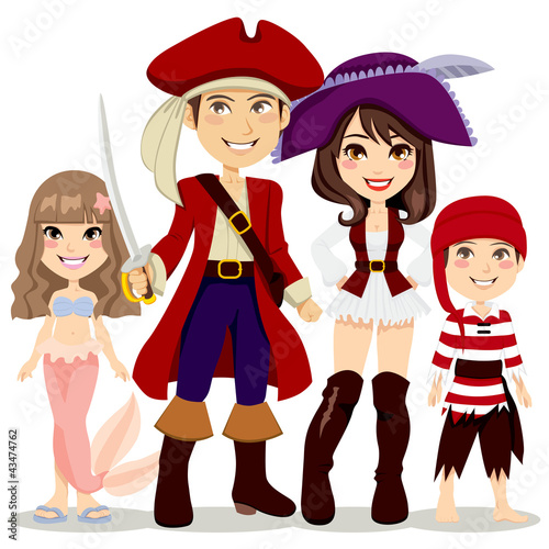 Photo Stands Pirates Pirate Family Costume Party
