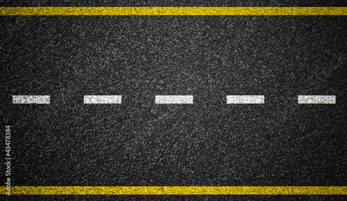 Fotografia  Asphalt highway with road markings background