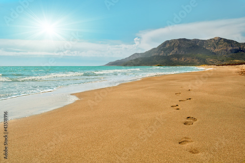 Foto-Leinwand - Footprints on the Patara beach  in Turkey