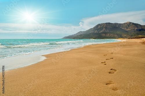 Foto Rollo Basic - Footprints on the Patara beach  in Turkey