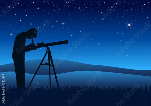 A person observing the night sky through a telescope