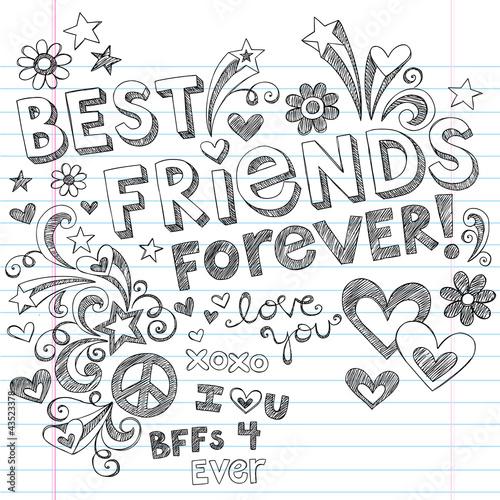 Fotografie, Obraz  Best Friends Forever Sketchy Doodles Back to School Vector