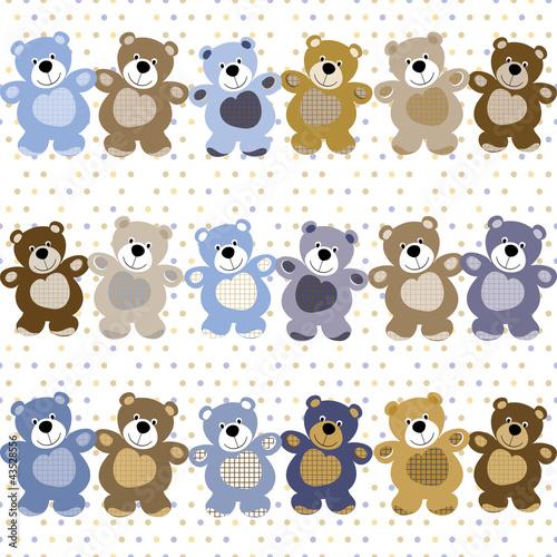 Fotografie, Obraz  vector seamless pattern of a toy teddy bear
