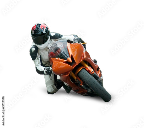 Poster Motocyclette Motorcycle racer isolated on white background
