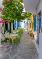 FototapetaColorful alley in Plaka village, Milos island, Cyclades, Greece