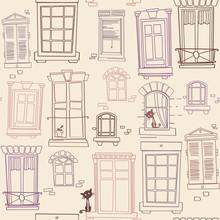 Illustration With Windows, Seamless Pattern