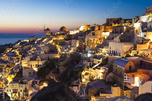 Poster Pleine lune Oia village, Santorini island,Greece