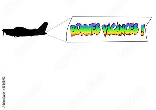 banderole avion bonnes vacances 01 Canvas-taulu