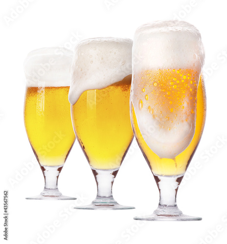 Frosty glass of light beer isolated Poster