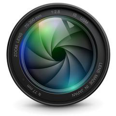 Fototapeta Camera photo lens with shutter.