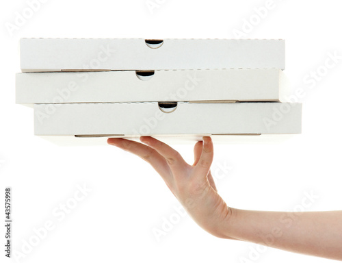 pizza box with hand  , isolated on white background