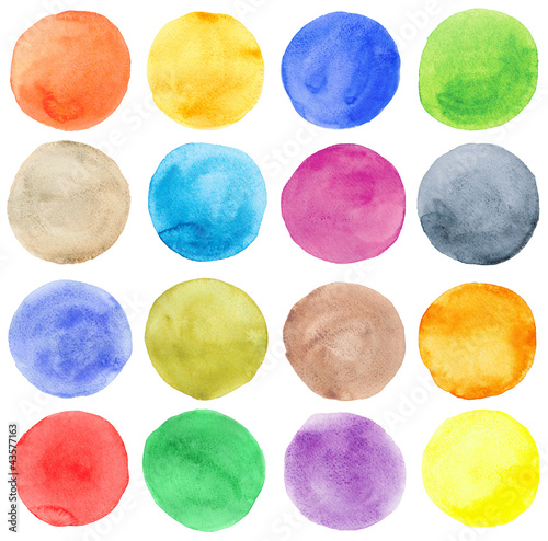 Watercolor hand painted circles set