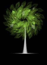 Abstract Futuristic Stylized Tree With Green Leafage