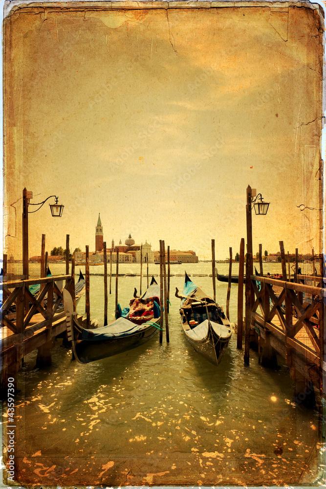 Fototapety, obrazy: Gondolas and Island of San Giorgio Maggiore - old card