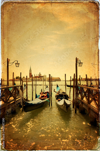 Obraz Gondole i wyspa San Giorgio Maggiore - stara pocztówka - fototapety do salonu