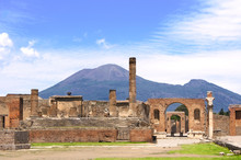 Ruins Of Pompeii And Volcano M...