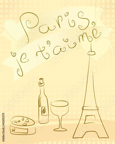 Deurstickers Doodle Paris - greting card