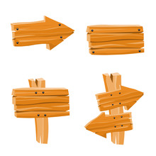 Vector Set With Wooden Signs